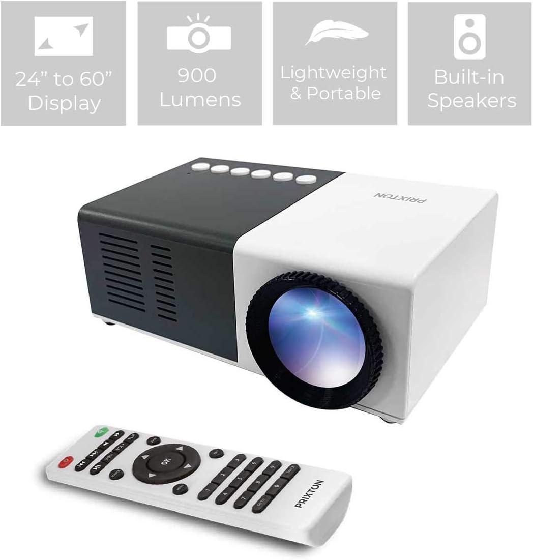 PRIXTON Cinema Mini - Mini Proyector Portatil / Proyector Mini Full HD, 900 Lúmenes, Conexión HDMI, USB, MicroSD, Aux in, AV in, Altavoces Integrados y Mando a Distancia Incluido
