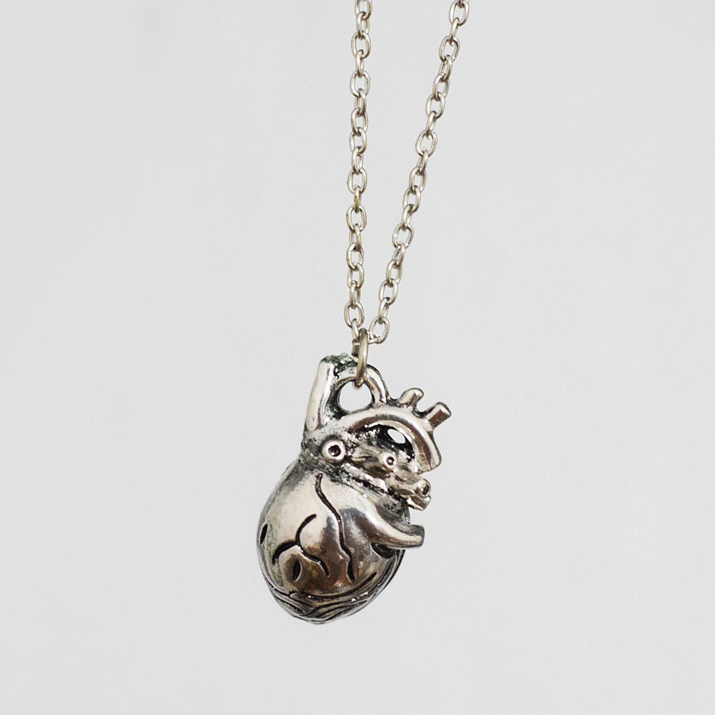 Anatomical Heart Necklace Antique Silver Anatomical Heart Ziper ZPG2