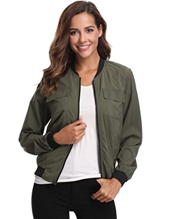 d1654a38a6404 MISS MOLY Bomber Jacket Women Lightweight Zip-up Long Sleeve Biker Cycling  Outfit with Pockets