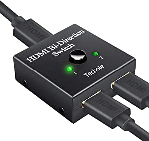 Switch HDMI, Techole Conmutador HDMI Switch Bidireccional 2 Entradas a 1 Salida o Switch 1 in a 2 out, Soporta 4K 3D 1080P, Divisor HDMI Conmutador Para HDTV/Blu-Ray Player/DVD / PS4 PS3 / Xbox