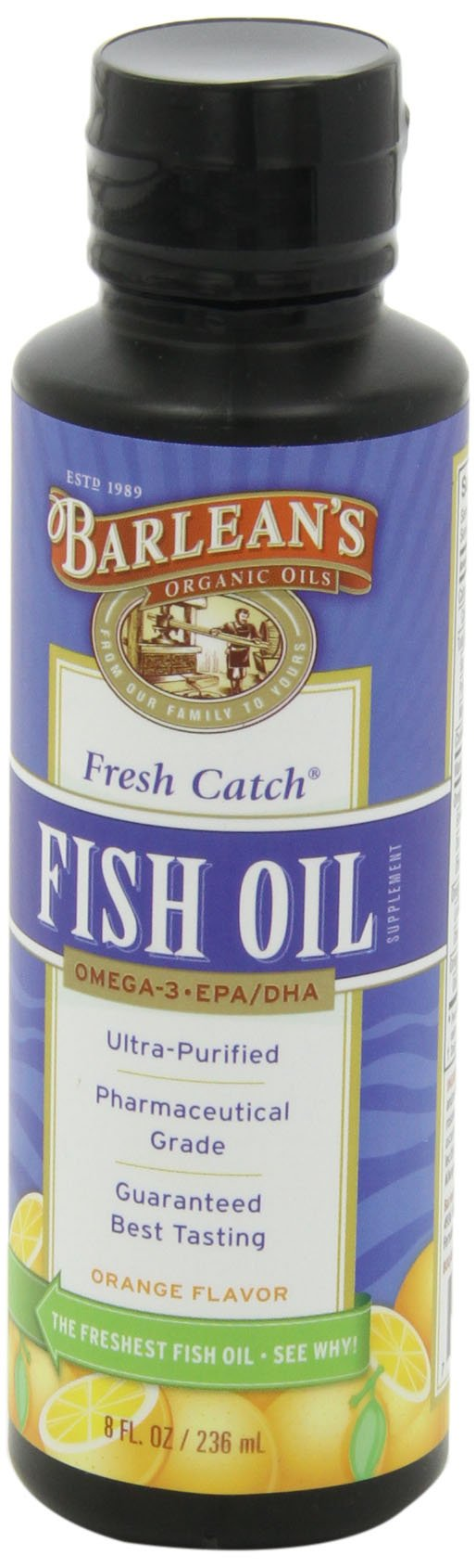 Barlean's Organic Oils Fresh Catch Fish Oil, Orange Flavor, 8-Ounce Bottle