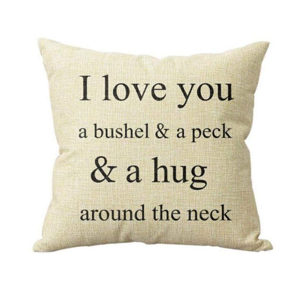 Sameno 18''x18'' Pillow Case I Love You A Bushel and A Peck Sofa Bed Home Decor Cushion Cover
