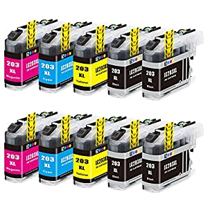 E-Z Ink (TM) Compatible Ink Cartridge Replacement For Brother LC203 XL LC203XL High Yield (4 Black LC203BK, 2 Cyan LC203C, 2 Magenta LC203M, 2 Yellow LC203Y) 10 Pack For MFC-J4420DW MFC-J4620DW