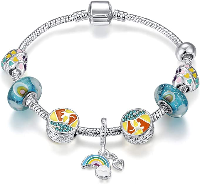 925 Sterling Silver Cubic Lucky Beaded Charm Link Bracelet Womens Jewellery Gift