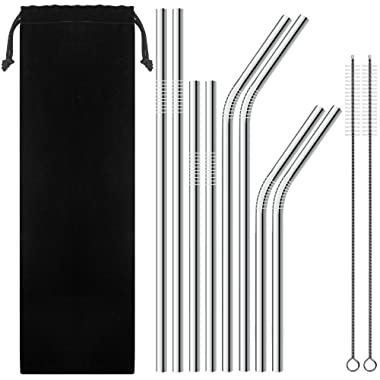 Reusable Metal Straws, Variety Short and Long Stainless Steel Straws and Cleaning Brush in Pouch Case for 30 Oz Yeti Tumbler
