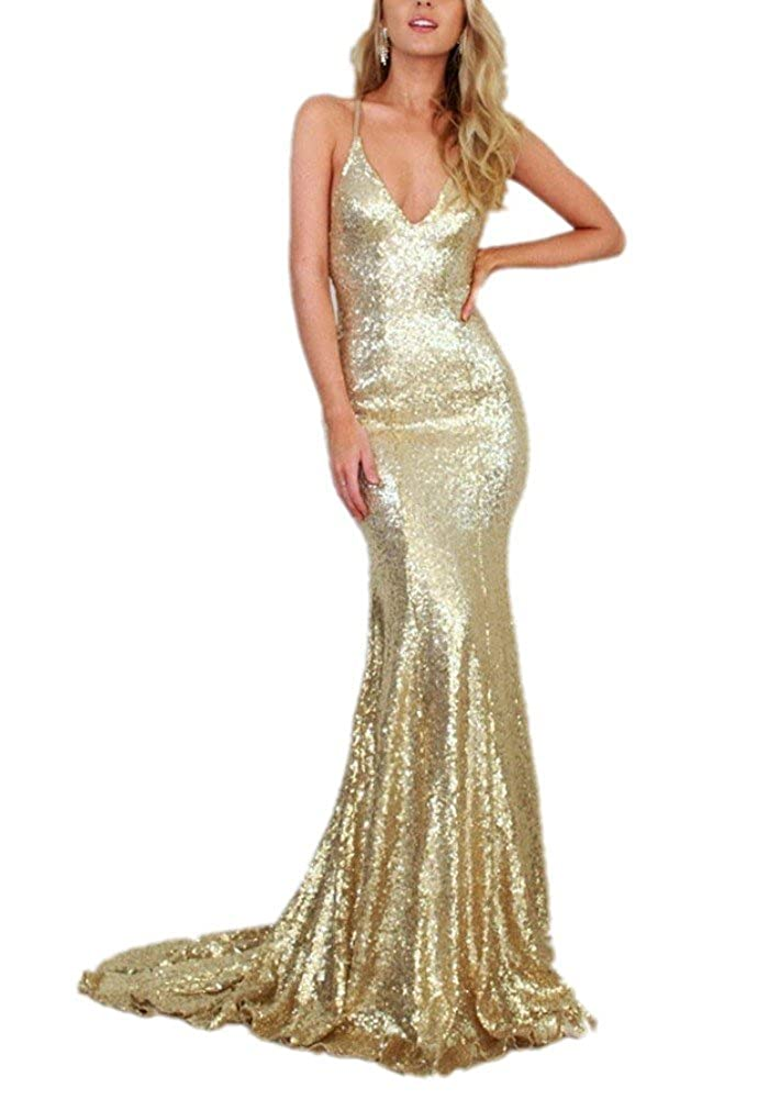 Butalways Womens Sequins Prom Dresses Long Backless Evening Gown Sexy Formal Party Dress Cheap at Amazon Womens Clothing store: