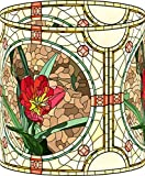 LampPix 10.5 Inch Custom Printed Table Desk Lamp Shade Stained Glass Style Red Flower (Spider Fitting)