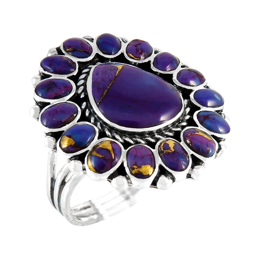 Turquoise Ring Sterling Silver 925 Genuine Gemstones Southwest Style (Purple Turquoise, 6)