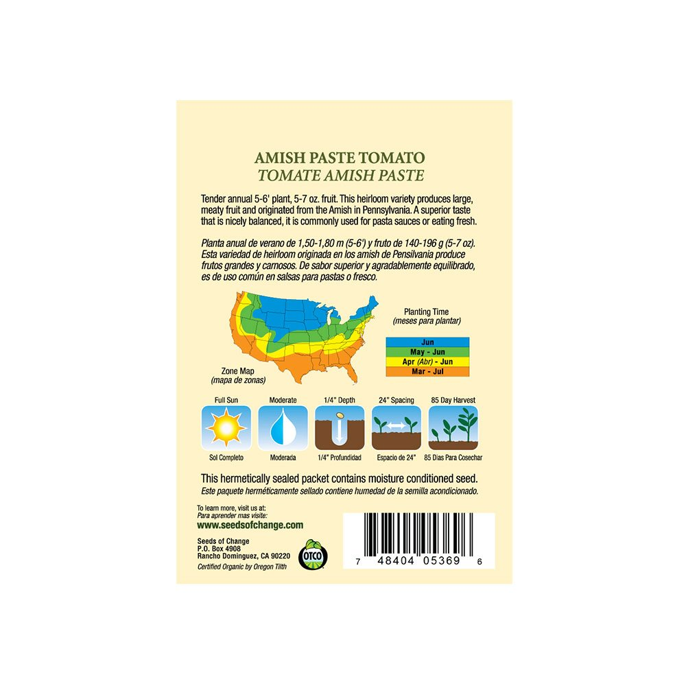 Amazon.com : Seeds of Change 05369 Certified Organic Amish Paste Tomato : Vegetable Plants : Garden & Outdoor