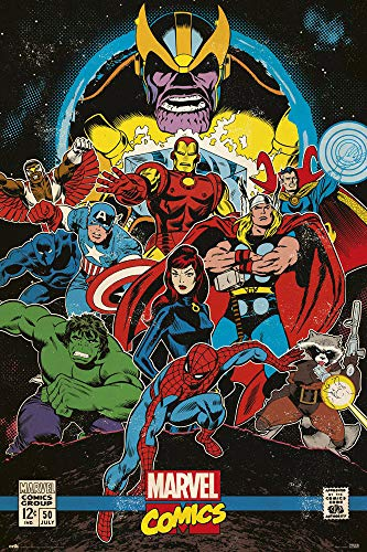 Marvel Comic Covers - Marvel Comics - Comic Poster (Retro Comic Cover - The Infinity Gauntlet) (Size: 24 inches x 36 inches)