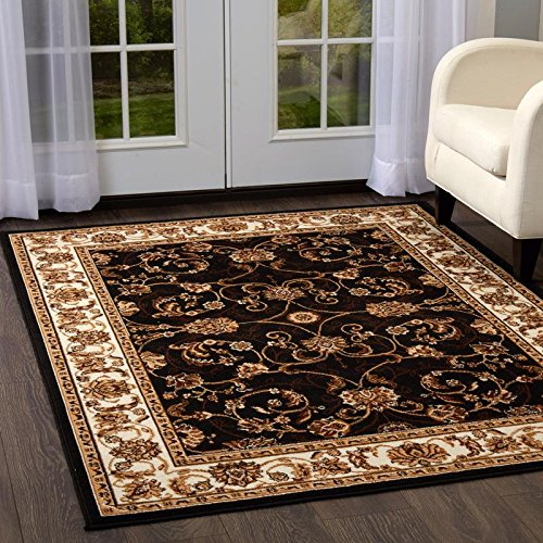 - Home Dynamix Premium Muse Area Rug by Traditional Style Living Room Area Rug | Persian-Inspired Design with Floral Vine Border | Classic All-Over Print | Black, Ivory, Brown 7'8 x 10'7