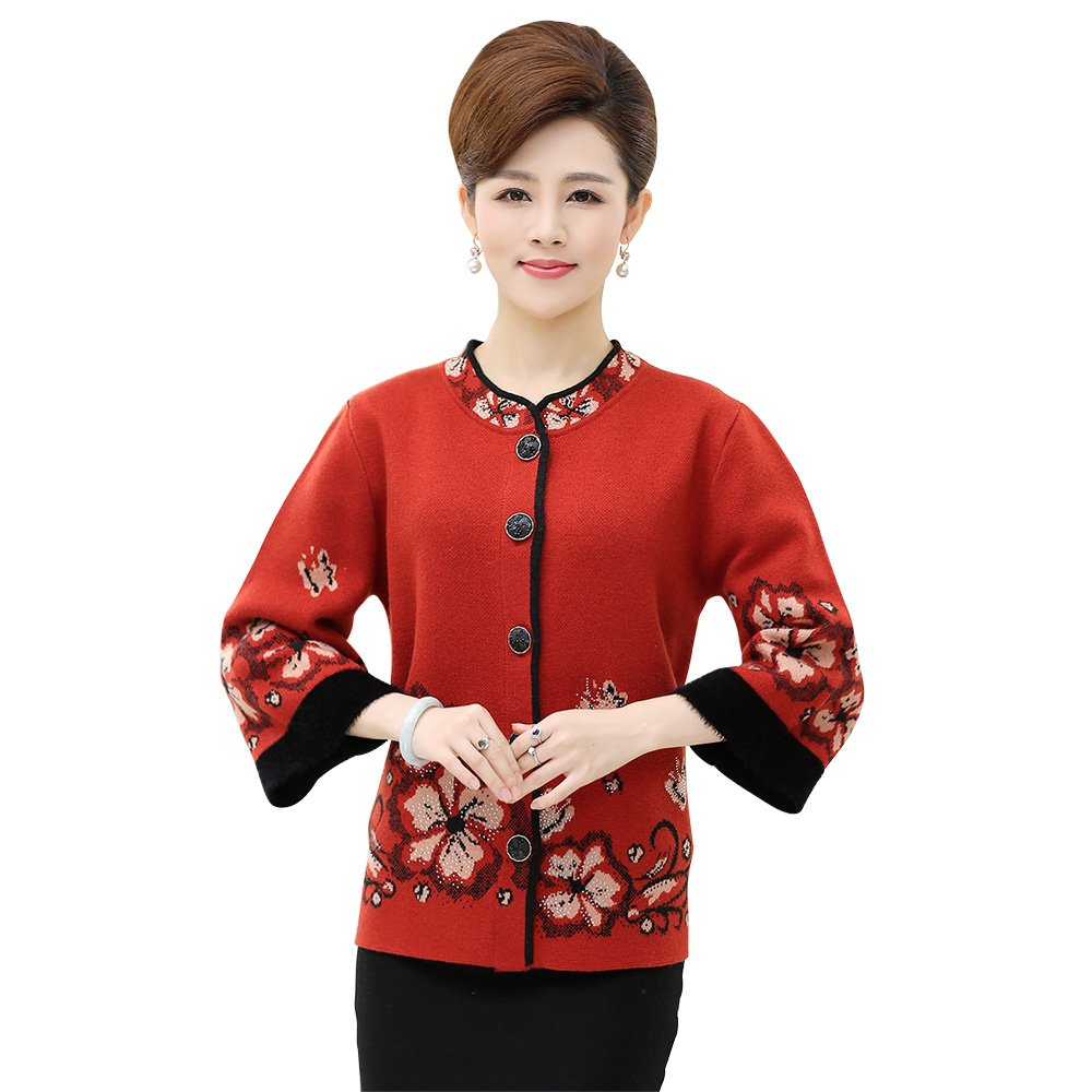 WEN TING Women Sweater Jacket Plus Button Up Cardigan Women Knitted 3 4  Sleeve at Amazon Women s Clothing store  ac9a7f19d