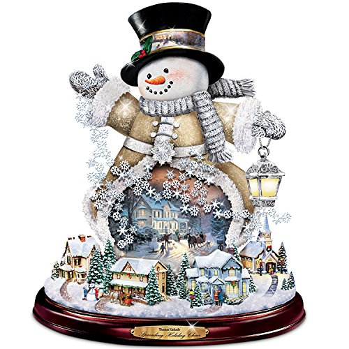Thomas Kinkade Spreading Holiday Cheer Lighted Rotating Musical Snowman Sculpture by The Bradford Exchange