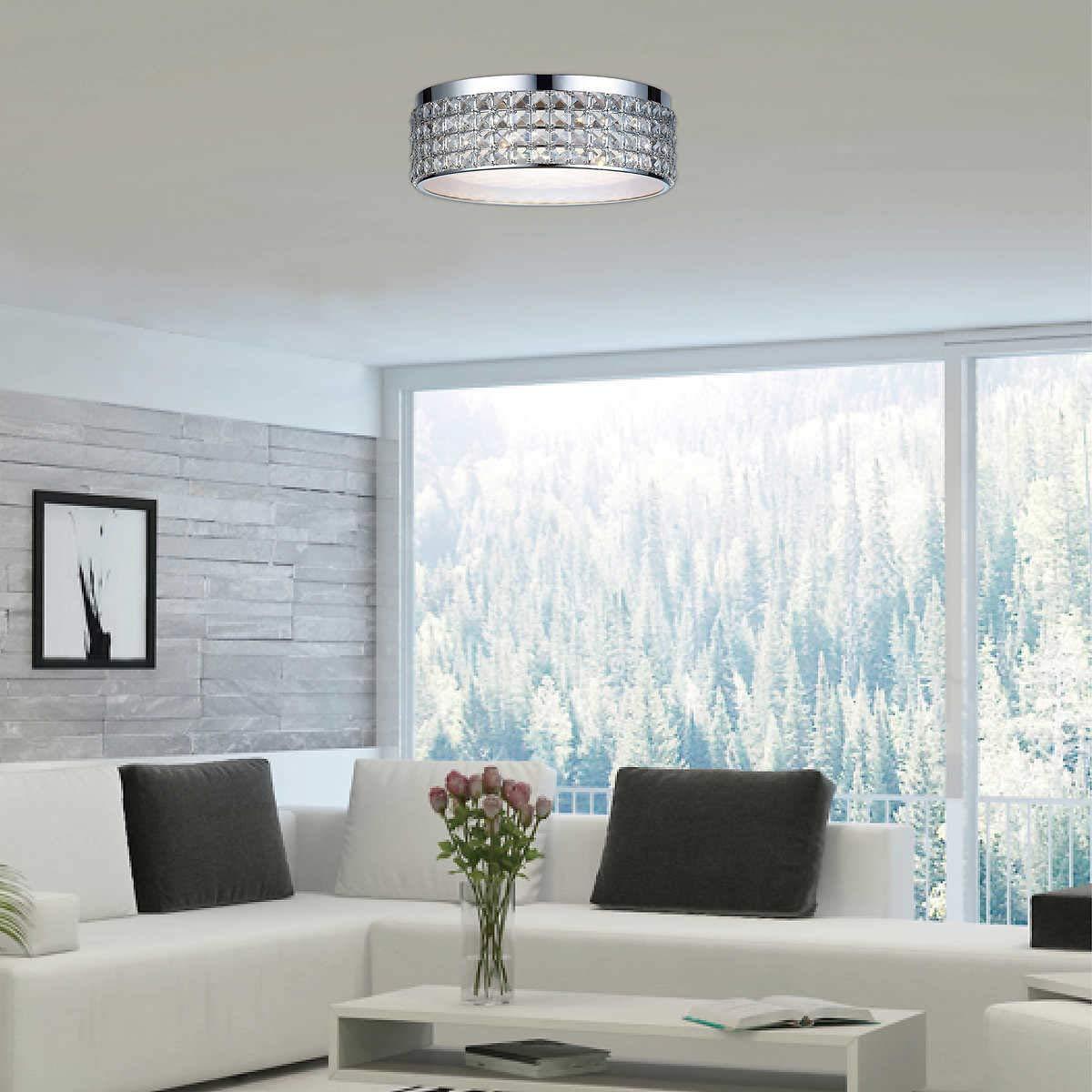 Dsi lighting callisto crystal ceiling led flush mount dimmable light fixture