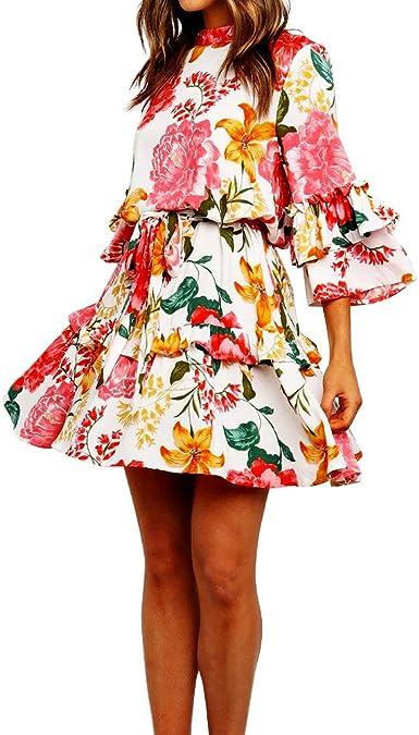 Drop Waist Floral Print Dress Vintage 80s