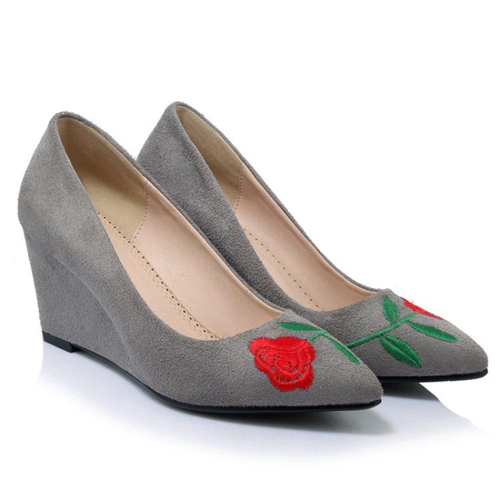 TYAW-Frauen Buchstabiere Farbe Canvas Schuhe Runden Kopf Flach Mund Schnalle Riemen Unten Dick,Rot,39