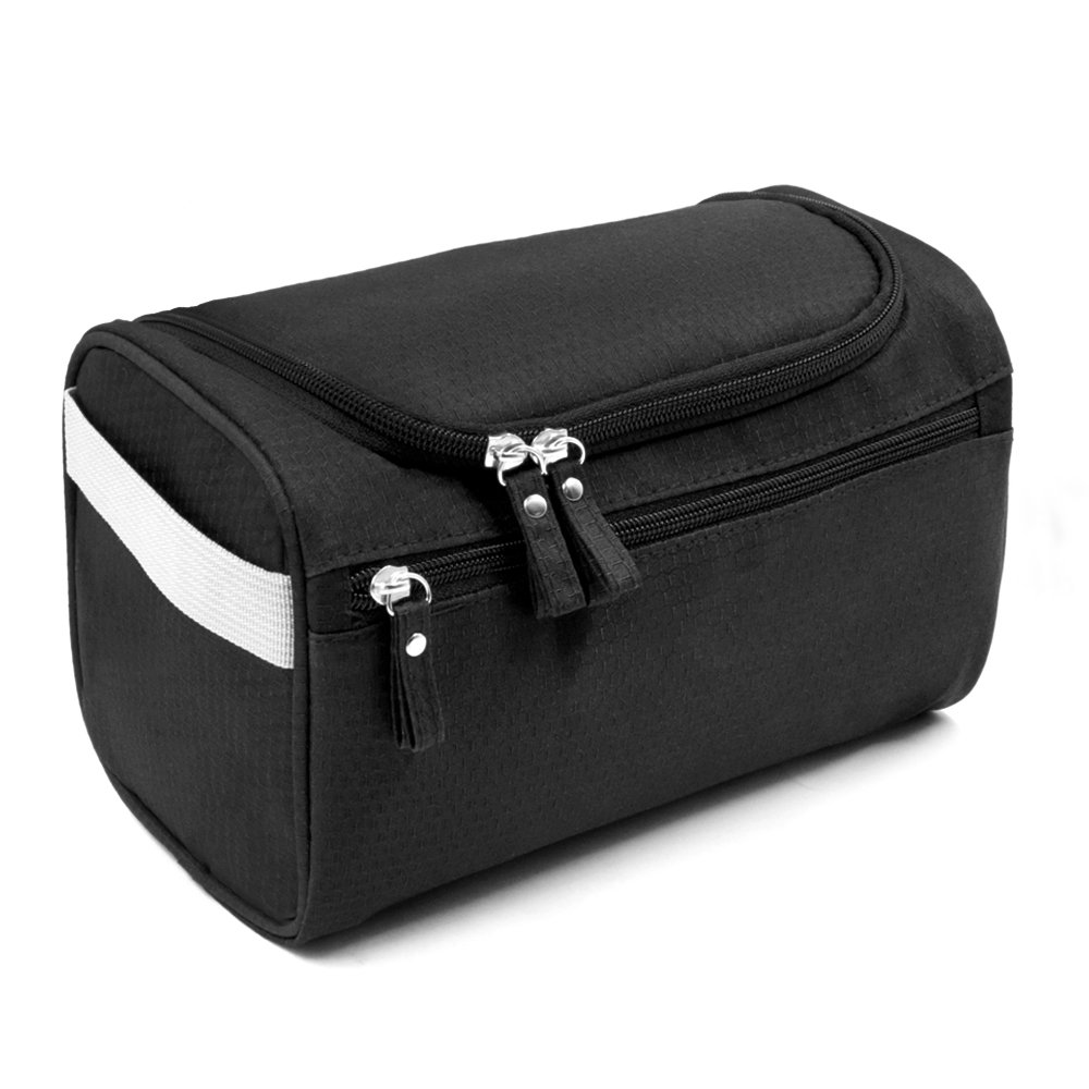 Travel Toiletry Bag Waterproof Zip Organizer Hanging Cosmetic Makeup Shower Bag With Large Compartment for Men Women for Trip Vacation Gym (Black)