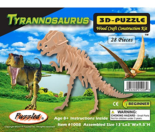 Kit Skeleton Wooden - 3D T Rex Dinosaur Educational Wood Construction Jigsaw Puzzle Kit - 28 Piece Plywood Cut Outs Unique Tyrannosaurus Wooden Skeleton Model - Paintable Figure Building Kids Adults Toy - Item 1008-79