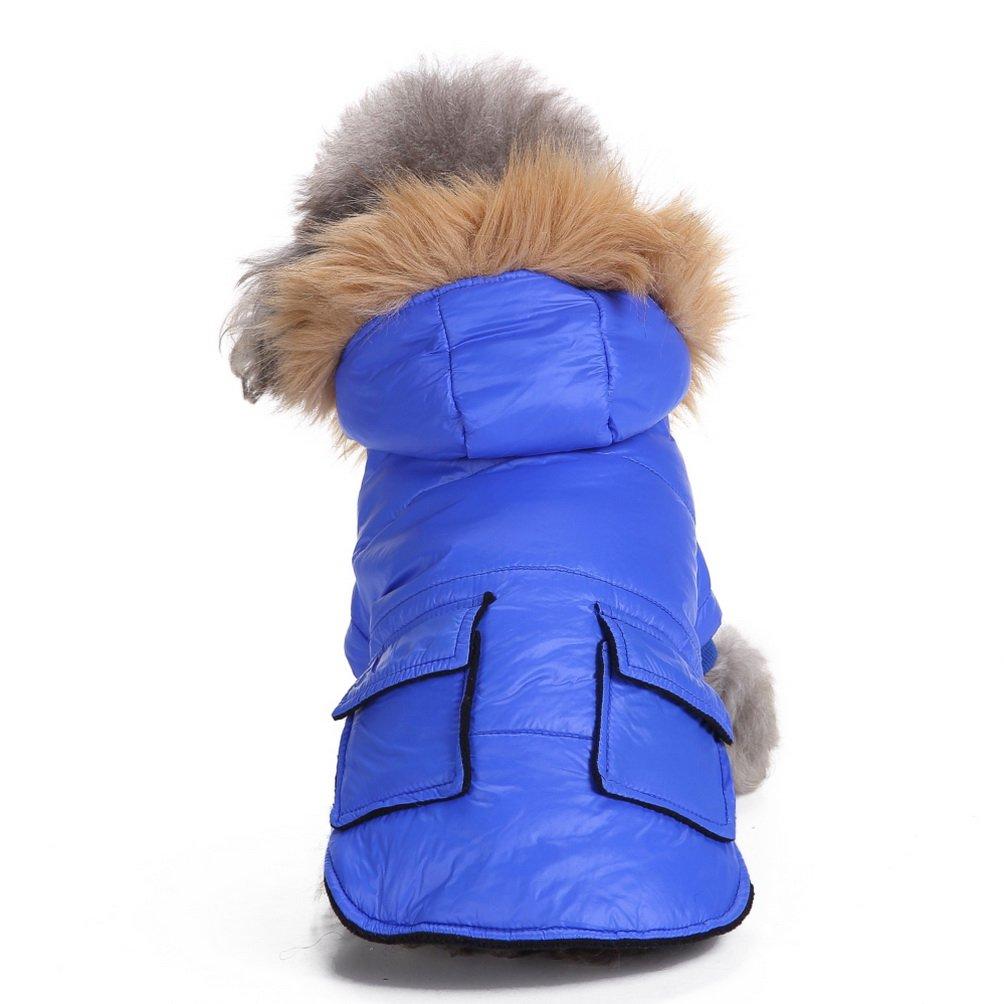 SELMAI Pet Snowsuit Windproof Puppy Parka Coat Dog Winter Jacket with Hood Dog Warm Outwear Dog Fleece for Small Dog Cat Pink XL