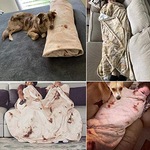 RAINBEAN Burritos Blanket, Giant Tortilla Throw Blanket for Adult and Kids 72 inches, Novelty Flour Tortilla Blanket Double Sided Realistic Soft Flannel Taco Blanket for Home, Outdoor and Trave