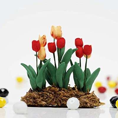 Artificial Lifelike Green Plants Decoration, 1/12 Miniature Tulip Flower Plant Bonsai Dollhouse Garden Accessories Toy Gift: Home Improvement