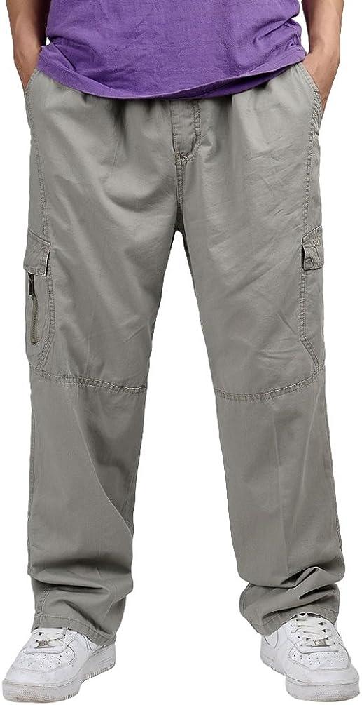 Lvguang Pantalones Secado Rápido para Hombre Cintura Elástica Pantalones Cargo al Aire Libre Pantalones Casuales