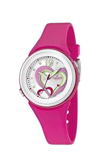 Calypso Watches K5576/5 - Reloj analógico de Cuarzo para niña, Correa de Goma Color Rosa: Amazon.es: Relojes