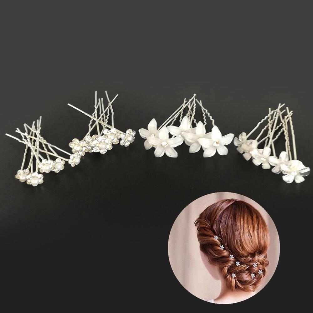 Halicer 20pcs Hochzeit Haarnadeln Perlen Blumen Braut Haarschmuck Strass für Brautfrisur, U-förmig Haarnadeln Für Frauen und Mädchen