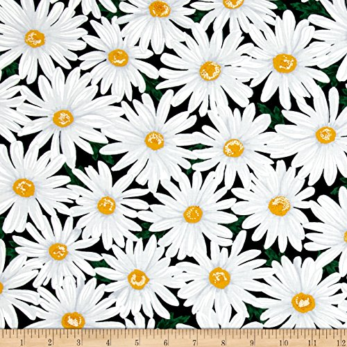 (Timeless Treasures Live Love Laugh Packed Daisy Black Fabric)