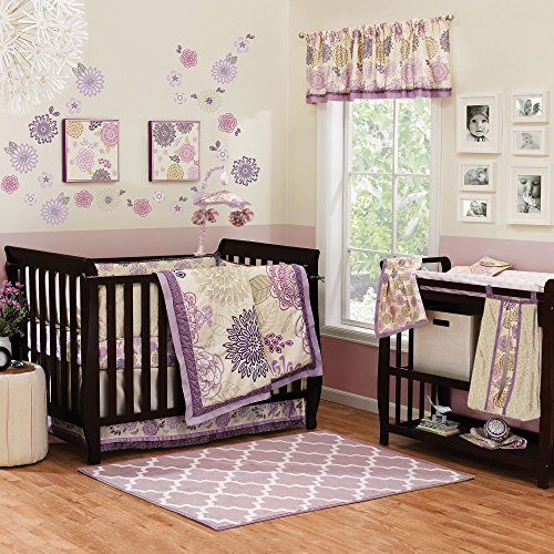 (Dahlia 5 Piece Baby Crib Bedding Set with Bumper by The Peanut Shell)