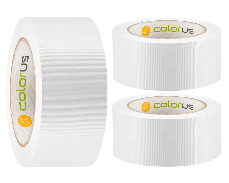 3 x Colorus PVC-Schutzband PLUS | Putzband 50 mm x 33 m weiß gerillt | Putzerband Abdeckband leicht abreißbar | Klebeband für Innen und Außen | 14 Tage UV-Beständigkeit | Abklebeband Putz 1A Malerwerkzeuge