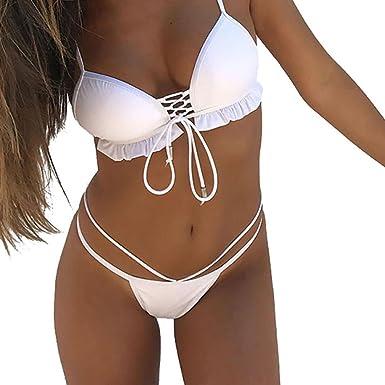Ensembles De Bikini Sexy Maillots De Bain Lolittas Deux Pièces 2 Femme Feuilles Imprimer Push Up Swimsuit (Blanc, M)