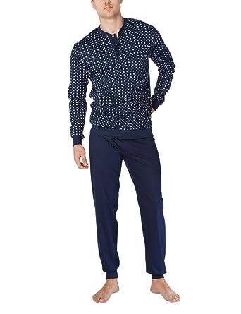 eb90122d3686f1 Calida Zweiteiliger Schlafanzug Matt Herren Pyjama mit Bündchen: Amazon.de:  Bekleidung