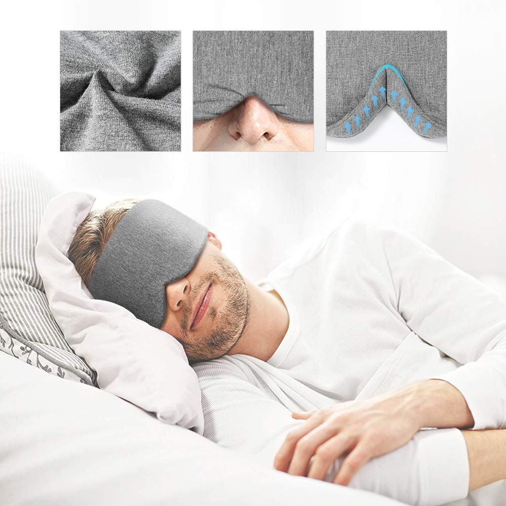 Handmade Cotton Sleep Mask - New Design Light Blocking Sleeping Eye Mask Soft and Comfortable Eye Shape Blinder Blindfold Airplane with Pouch for Nap Sleeping Travel for Women Men Kids(Gray Modal) by FRESHME