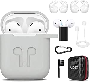 Airpods Case,AIOZX 8 in 1 Airpods Accessories Set Protective Silicone Cover Skin EVA Box Compatible Apple Airpods with Holder/Anti-Lost Strap/Cleaning Brush/Ear Hooks for Apple AirPods 2 & 1