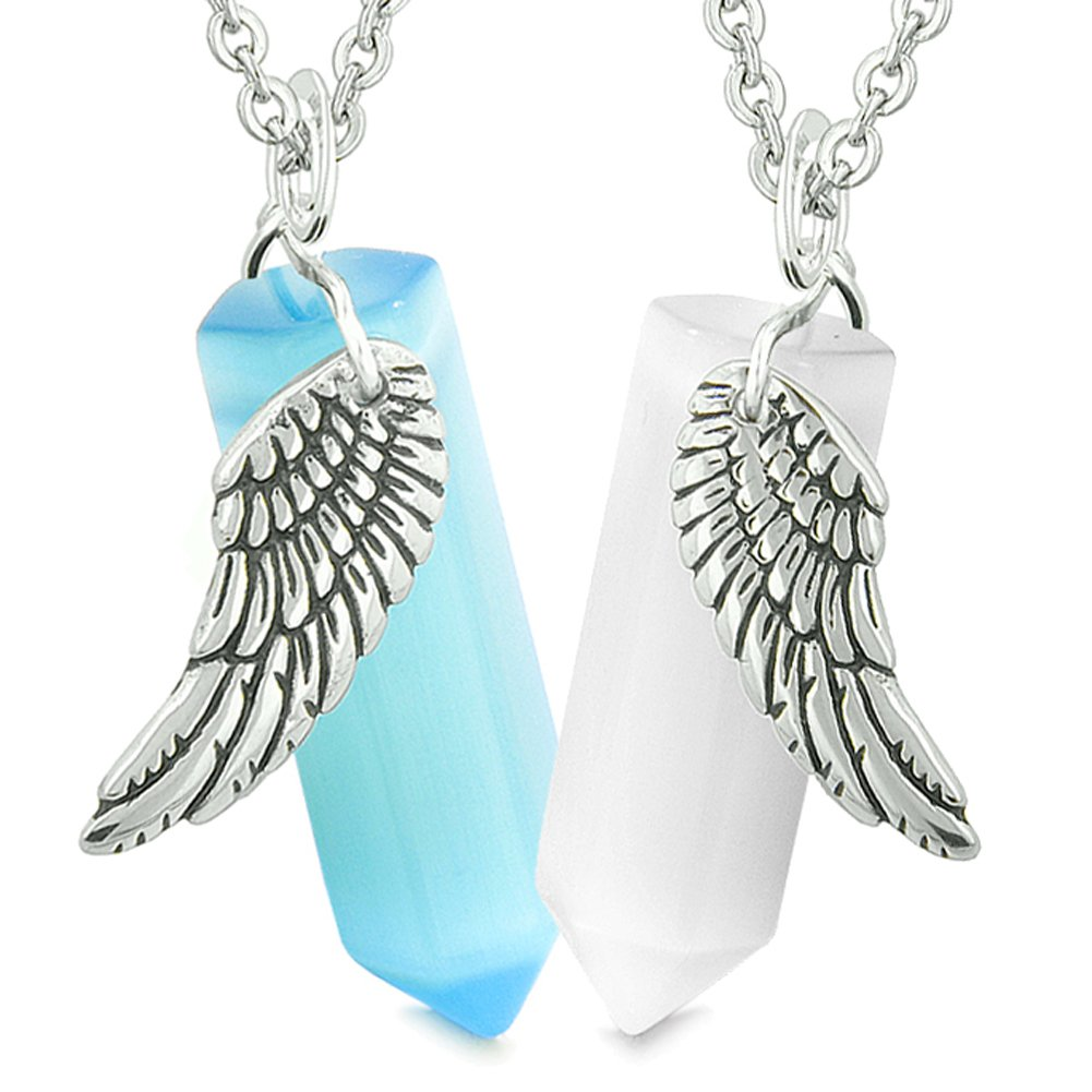 Amulets Love Couples Magic Powers Angel Wings Crystal Points White Sky Blue Simulated Cats Eye Necklaces