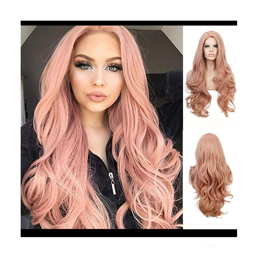 JYS Women Fashion Pink Wig for Women Long Fancy Dress Wig Curly Wig Synthetic As Real Human Hair Wig Cosplay Wig for Girl 26 Inches (Pink)