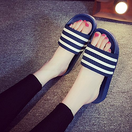 Cool fankou Soft A Couples Female Indoor Lovely Summer 43 Slippers Slippers Bottom Stay Bath Summer Slip Dark 44 Anti Bathroom and Students Blue Male rqOIr