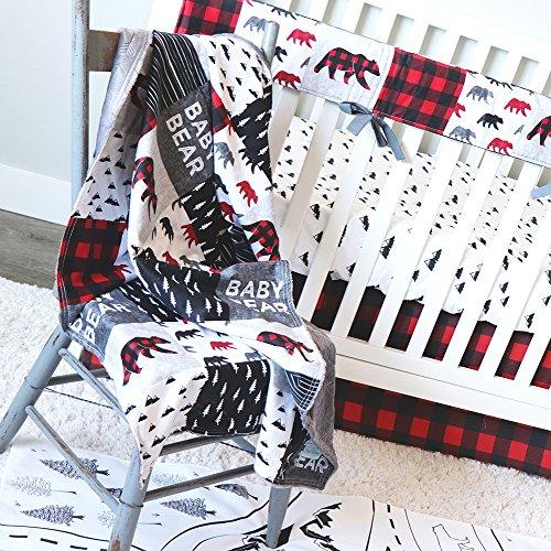 - Lumberjack Red Plaid 4 Piece Crib Bedding Set