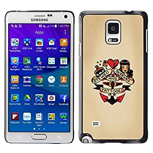 Plastic Shell Protective Case Cover || Samsung Galaxy Note 4 SM-N910 || Heart Doll Anchor Woman Tattoo @XPTECH