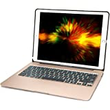 iPad Pro 12.9 Keyboard Case, iEGrow F07 7 Colors Backlit Slim Aluminum Bluetooth Keyboard with Protective Cover and 5600 mAh External Battery for 12.9-inch iPad Pro 2015 Released (Gold)