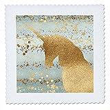 3dRose PS Animals - Image of Gold Aqua Glitzy Confetti Stars Sparkle Unicorn - 16x16 inch quilt square (qs_280779_6)