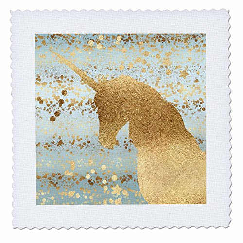 3dRose PS Animals - Image of Gold Aqua Glitzy Confetti Stars Sparkle Unicorn - 16x16 inch quilt square (qs_280779_6) by 3dRose