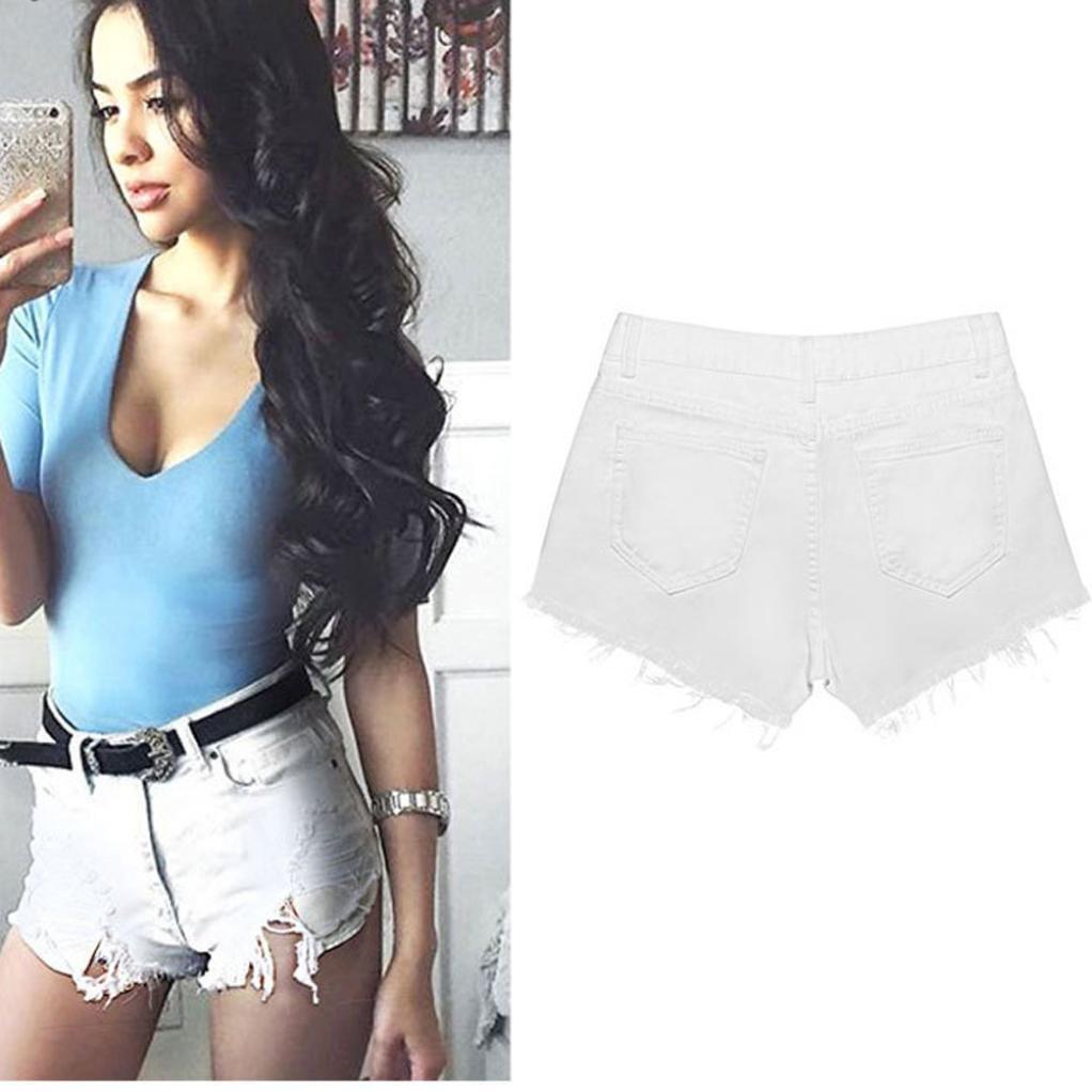 Kolylong Women Summer Skinny Ripped High Waisted Denim Shorts Jeans Hot Beach Pants