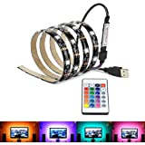 LEDNICEKER Waterproof USB LED Strip Backlight - Multi Colour 100CM Flexible LED Strips Bias Backlight with USB Cable and Mini 24Key Controller For Home, HDTV, Flat Screen TV Accessories and Desktop PC
