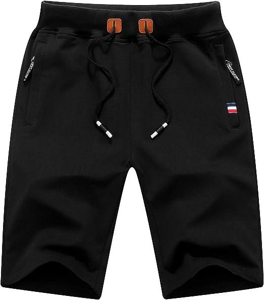 QPNGRP Mens Shorts Casual Drawstring Zipper Pockets Elastic Waist Black 34