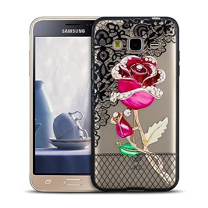 MOEVN Funda para Samsung J3 2016 Transparente, Flor Silicone ...