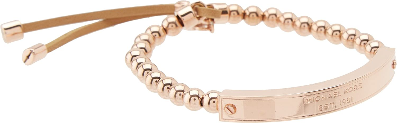 bd79c43392b0 Michael Kors Collection Logo Plaque Stretch Bead Bracelet Bracelet Rose Gold   Amazon.co.uk  Jewellery