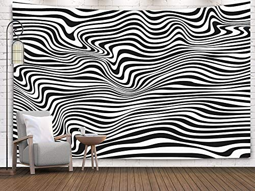 Crannel A Black White Relief Tunnel Optical Illusion Tapestry 60x50 Inches Wall Art Tapestries Hanging for Dorm Room Living Home Decorative ... (80