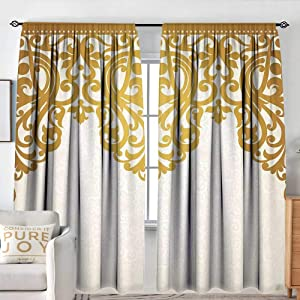 "NUOMANAN Print Pattern Curtains Antique,Victorian Style Medieval Motifs with Classic Baroque Oriental Shapes Print,Golden and Cream,for Room Darkening Panels for Living Room, Bedroom 54""x84"""